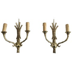 Maison Bagués, Rare Pair of Faux-Bamboo Bronze Wall Sconces, French, circa 1940