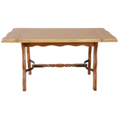 California Rancho Monterey Trestle Dining Table with Four Leaves