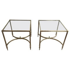 in the Style of Maison Jansen. Rare Large Pair of Neoclassical Brass Side Tables