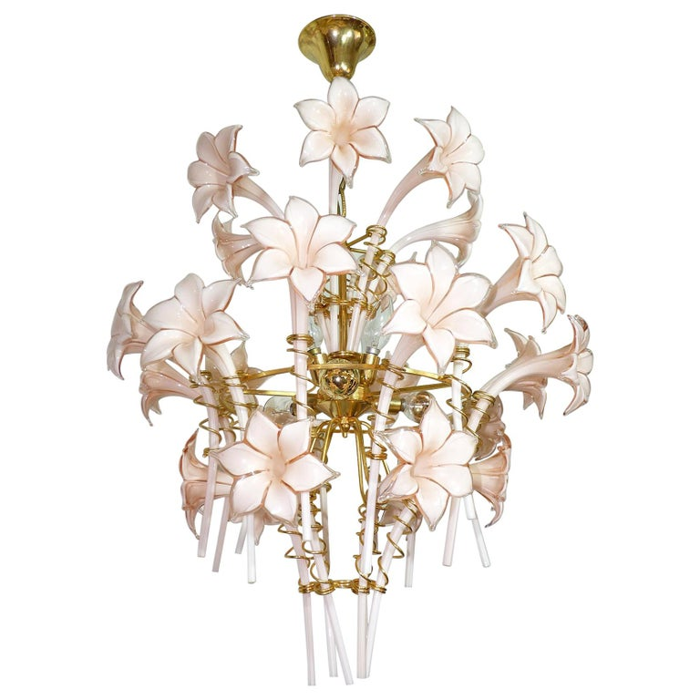 Large Murano Pink Lilly Sculptural Chandelier Franco Luce Art Glass & Gilt Brass For Sale