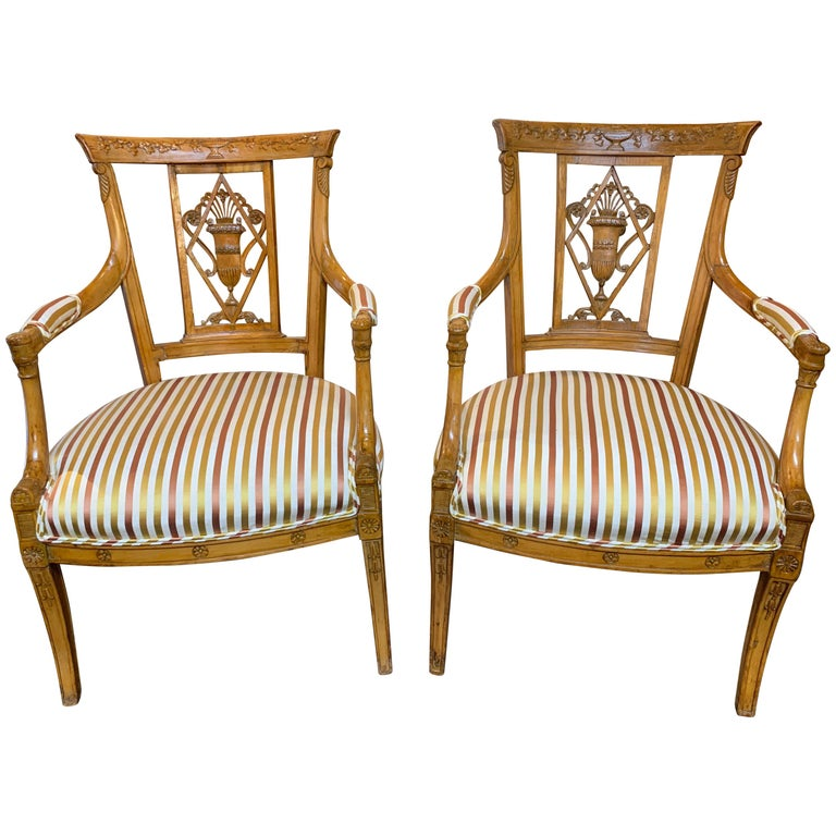 19th Century Carved Fruitwood Armchairs For Sale