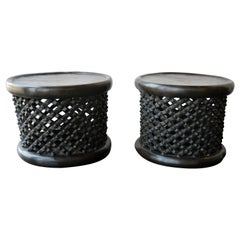 Pair of African Bamileke Hand Carved Wood Tables or Stools