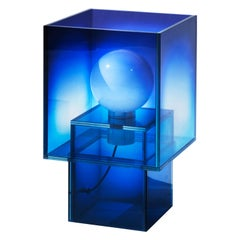 Blue Glass Table Lamp Clear Transition Color Square Studio Buzao Customizable