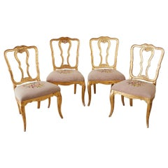 Set of Four Italian Giltwood Venetian Style Dining Chairs