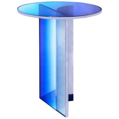 Blue Purple Glass Clear Transition Color Round Side Table Customizable