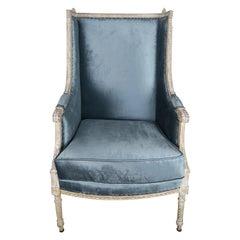 19th Century Swedish Painted Blue Velvet Armchair
