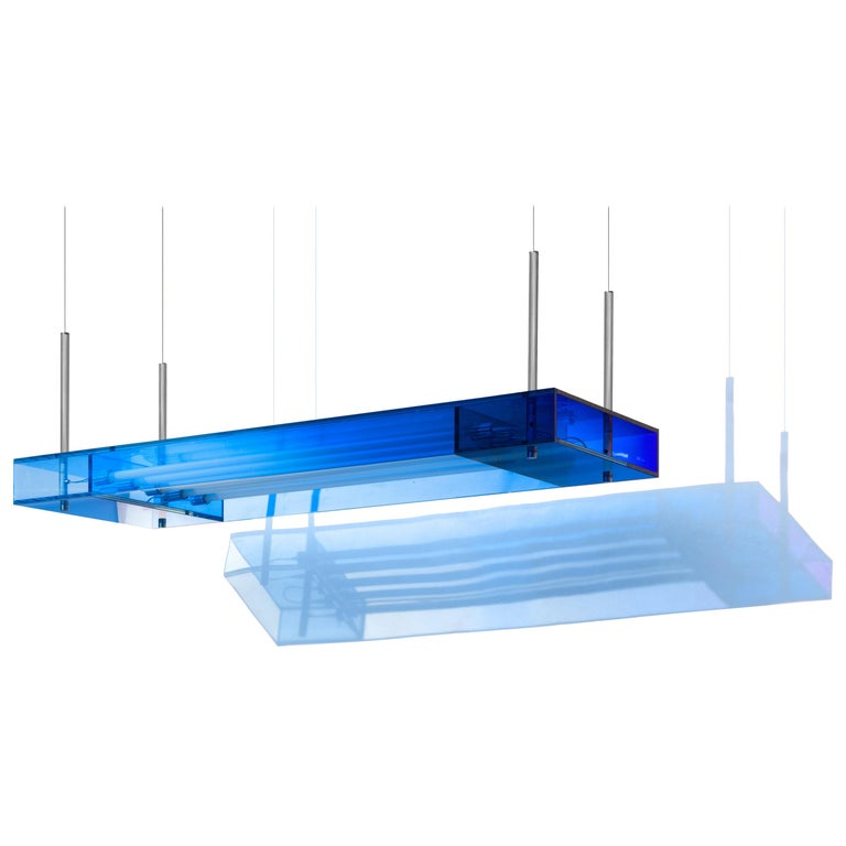 Blue Glass Clear Transition Color Square Hanging Light Customizable For Sale