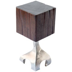 Nick's Chunky Drink Table, Red Ironwood, Cast Aluminum, Jordan Mozer, USA, 2016