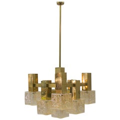 Vintage Brass with Chandelier with Square Glass Shades by Sciolari, Italy, 1960s