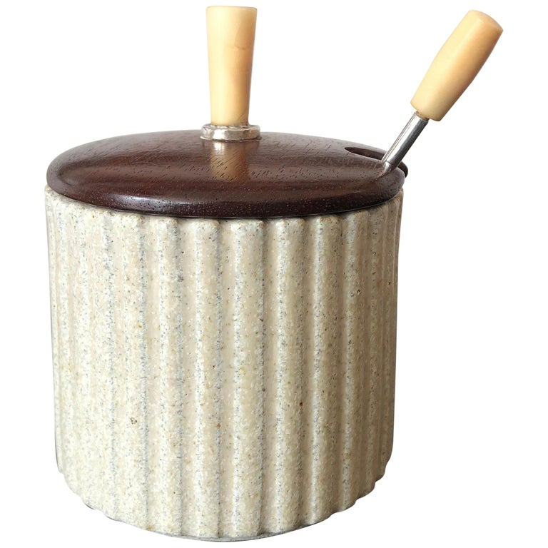 Arne Bang Pottery Jam or Mustard Pot with Teak Lid and Silver Spoon For Sale
