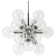Kalmar Sputnik Chandelier or Pendant Light 'RS 12', Aluminum Glass, 1970, 1 of 2