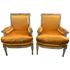 Pair of 19th Century French Louis XVI Carved Armchairs with Silk Upholstery