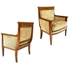 Pair of Solid Wood Armchairs in Embroidered Velvet, France, circa 1915