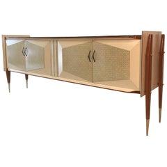 1950s Italian Geometric Long Sideboard