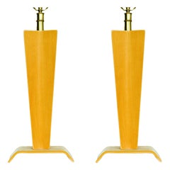 Pair of Midcentury Bent Plywood Table Lamps