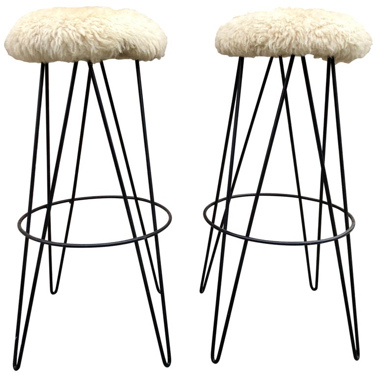 Pair of Frederick Weinberg Bar Stools For Sale