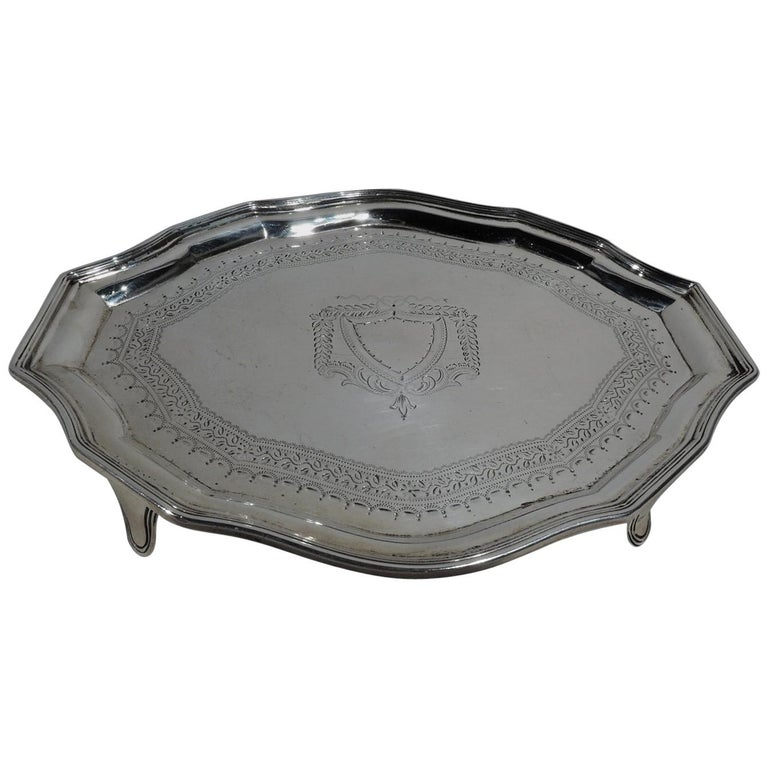 Antique English Georgian Sterling Silver Small Cartouche Salver Tray For Sale