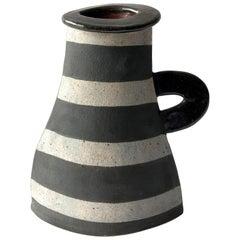 Kazuko Matthews Stoneware Flattened Postmodernist Vase