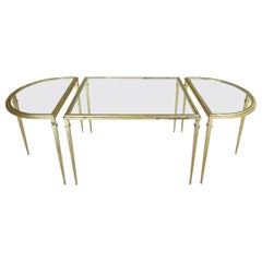 Three-Piece Glass Coffee Table in Gold Leaf with Demilune Sides
