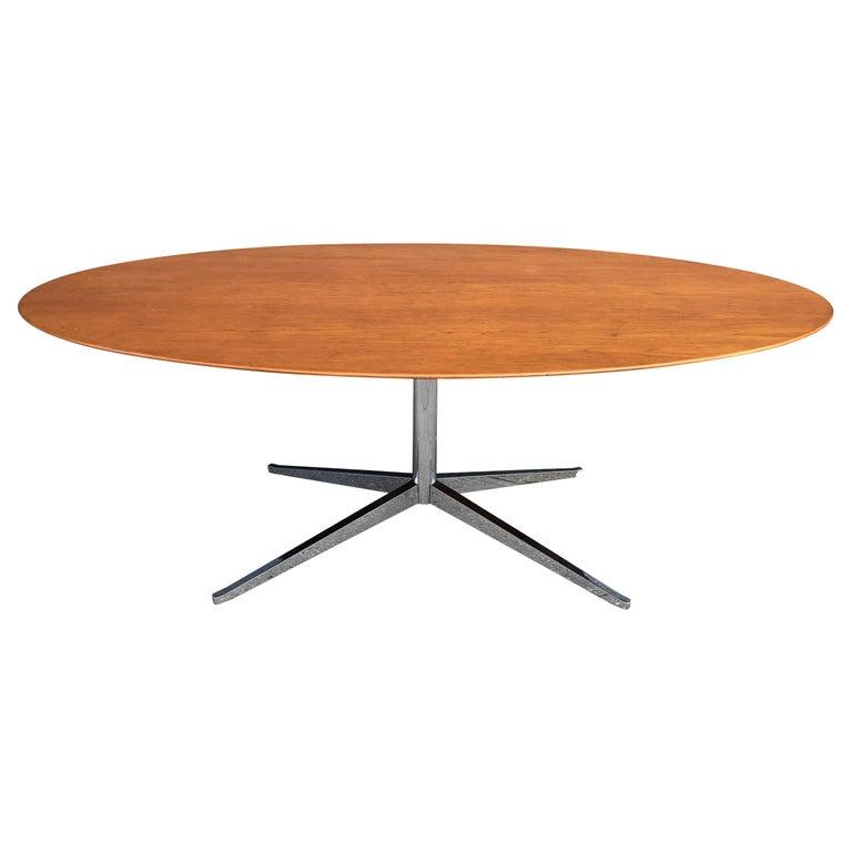 Florence Knoll Oval Table Desk in Walnut