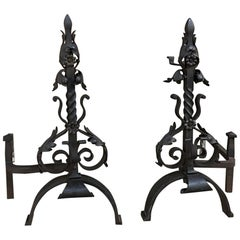 Pair 19th Century French Wrought Iron Andirons