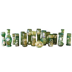 Collection of 18 Green Glass Vases with Enamel Florals