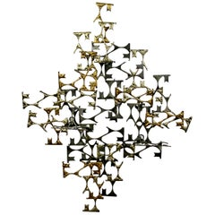 Mid-Century Modern Brutalist Metal Abstract Wall Sculpture Will Friedle, 1970s