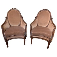 Pair of French Carved Mahogany Wing Back Armchairs