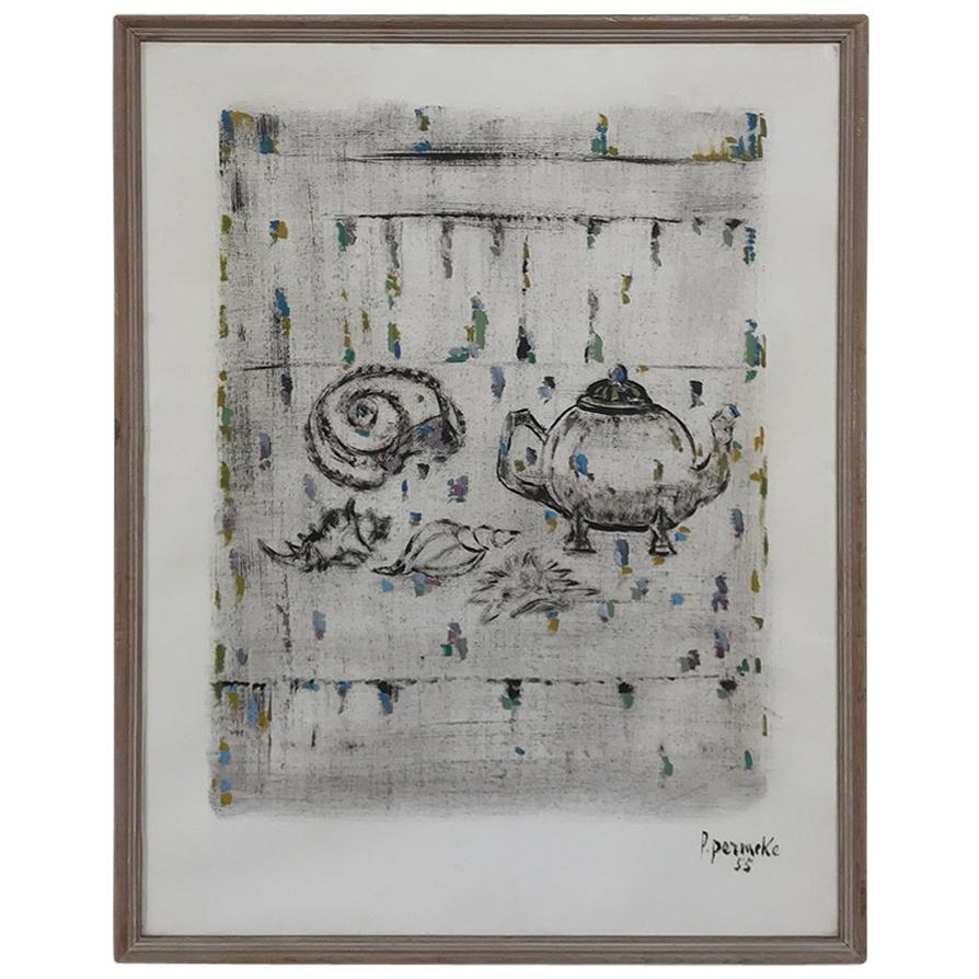 Framed Mixed-Media Artwork by Paul Permeke Signed and Dated 1955