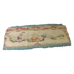 Antique Aubusson Tapestry Blue and Pink Settee Seat/Back Cover