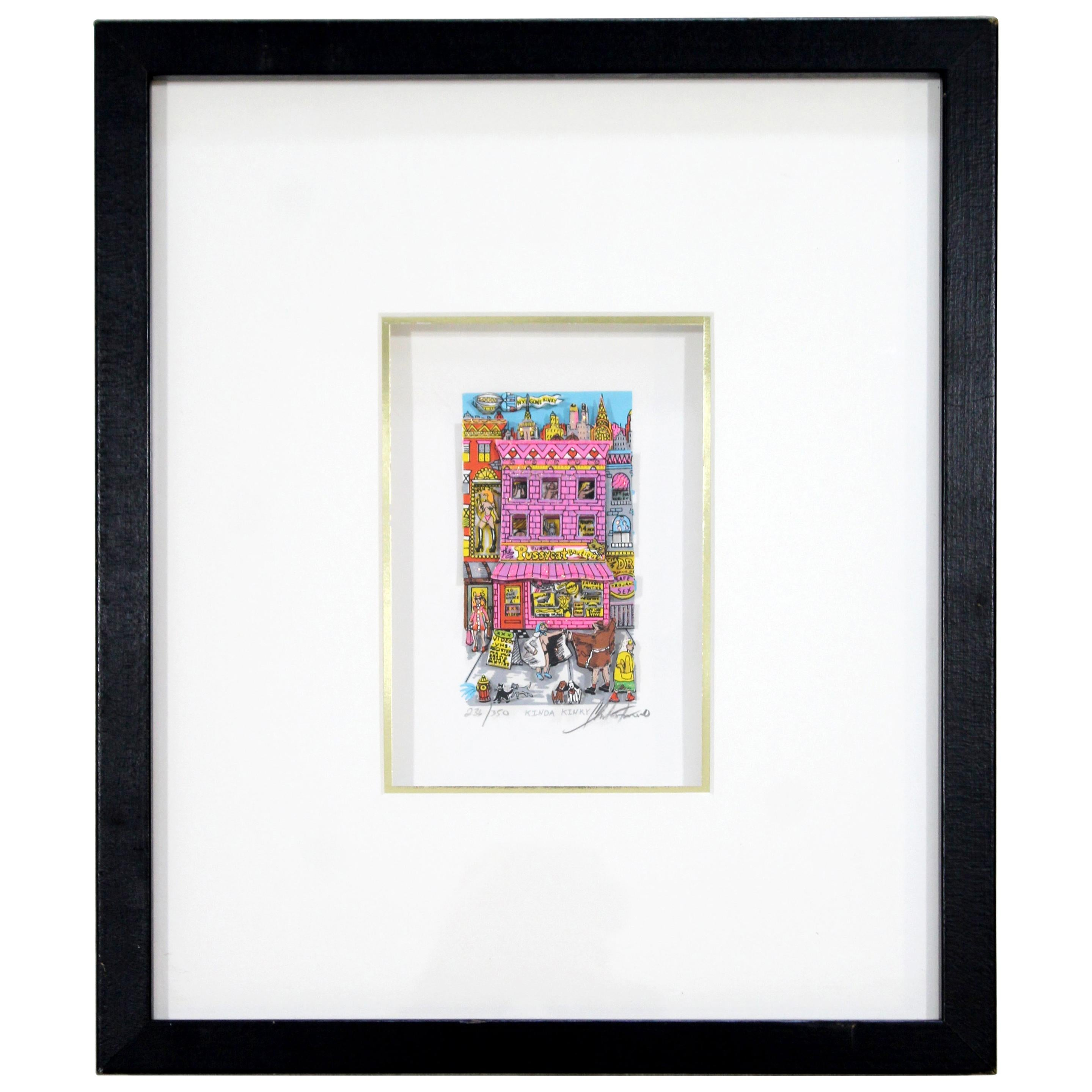 Contemporary Modern Framed Kinda Kinky 3D Serigraph Signed Fazzino 1996 236/350
