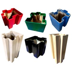 Set of 6 Willy Guhl Jigsaw Puzzle Planters