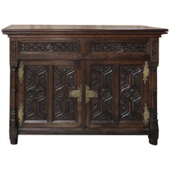 19th Century French Gothic Oak Buffet with Brass Hardware