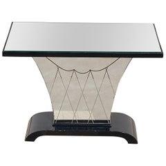 Art Deco Mirrored Side Table, 1930s Belgium