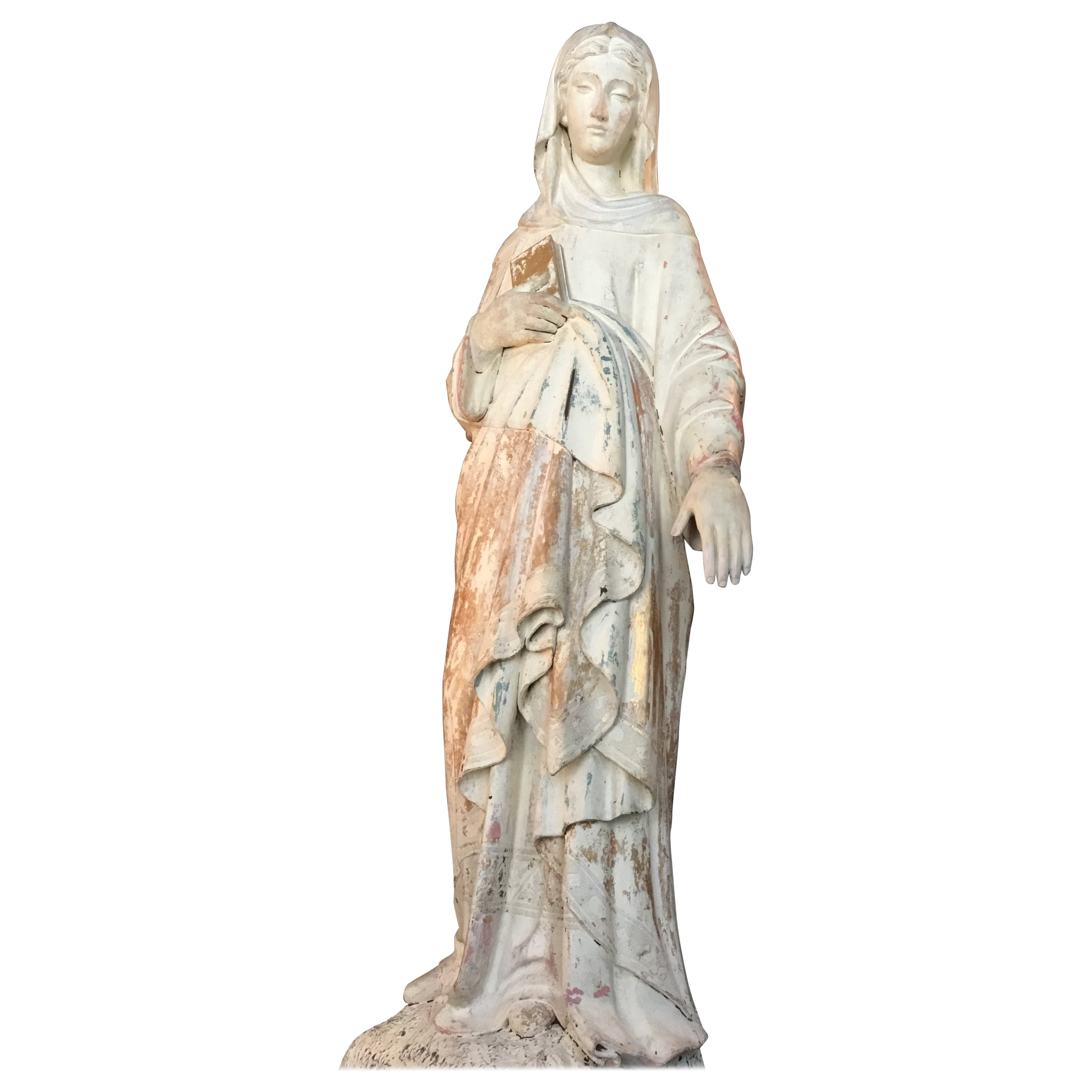 Antique French Wood Carved Madonna Statue