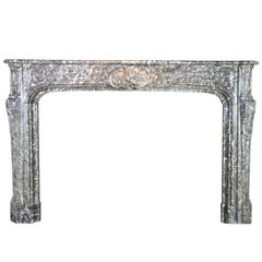 18th Century Classic Antique Fireplace Surround in Grey Belgian Marble
