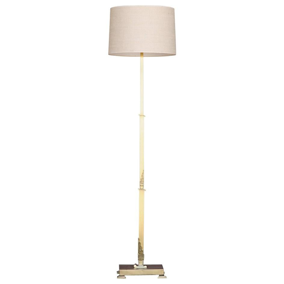 French Art Deco Floor Lamp in Brass