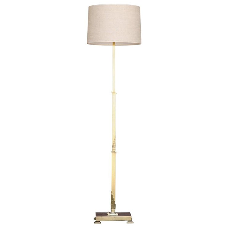 French Art Deco Floor Lamp in Brass For Sale