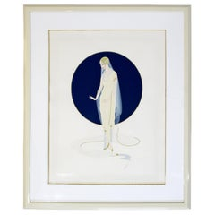 Contemporary Deco Framed Serigraph Devotion Signed Erte 31/300 Foil Stamp 1987