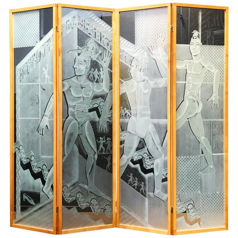 Patrick Wadley Four Panel Etched Glass Screen For Sale
