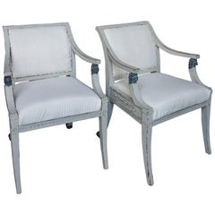 Pair of Swedish Neoclassical Style Armchairs with Lion Detail