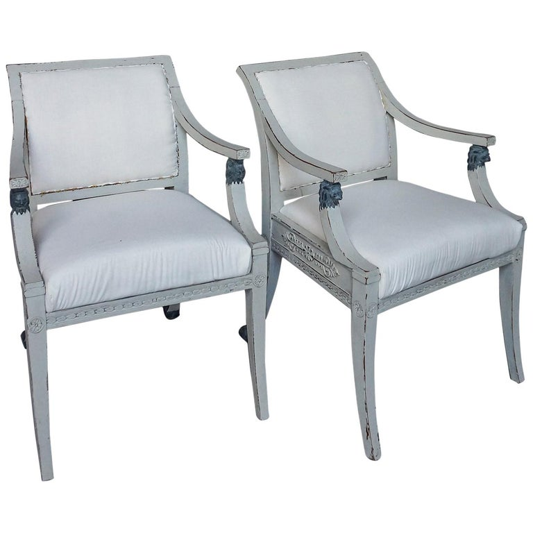 Pair of Swedish Neoclassical Style Armchairs with Lion Detail For Sale