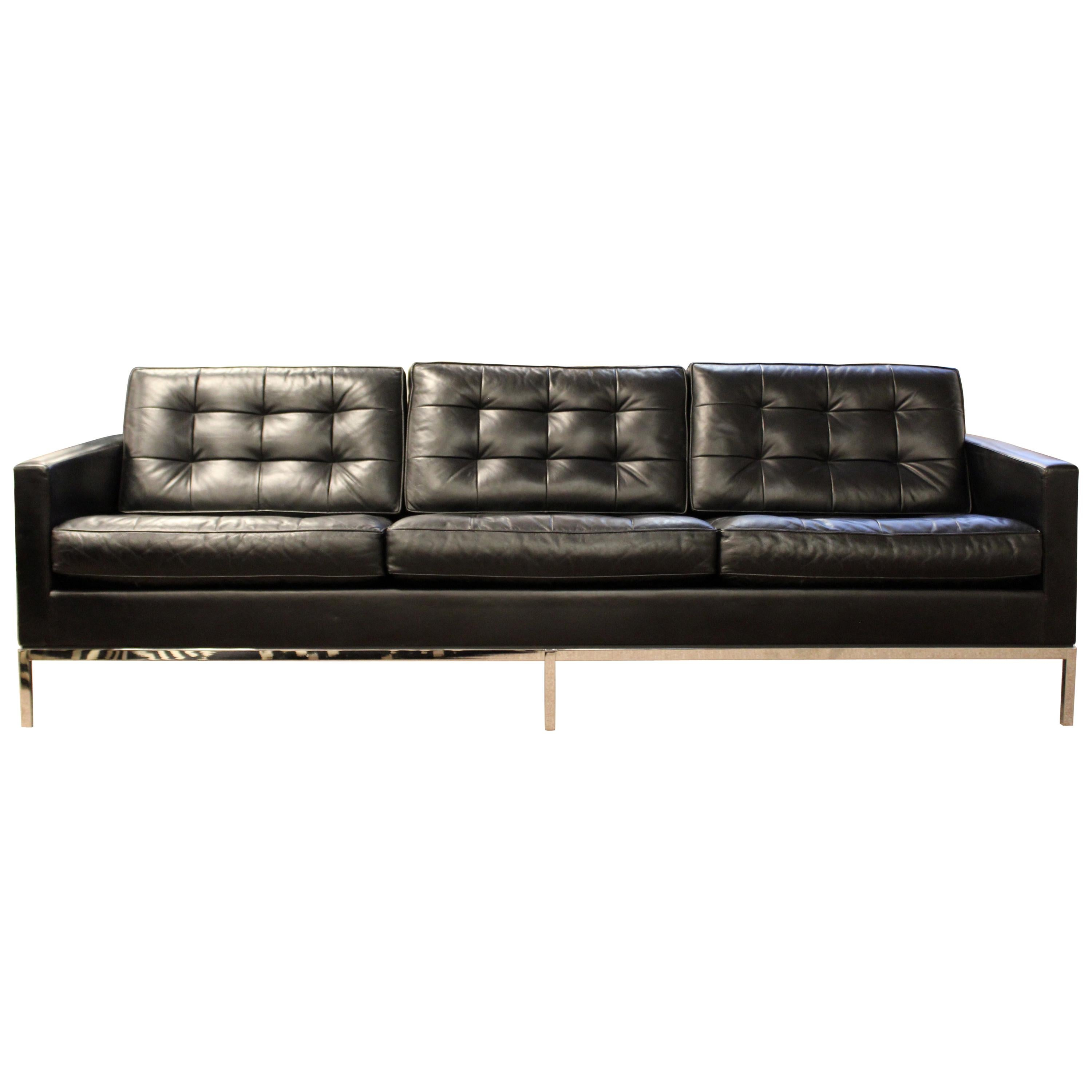 Mid Century Modern Florence Knoll Chrome Sofa Black Tufted Leather, 1960s