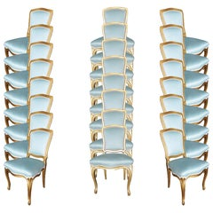 24 Louis XVI-Style Hollywood Regency Dining Chairs, circa 1950