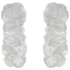 Large Pair of Fine Carved Multifaceted Rock Crystal Sconces by Phoenix
