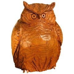 Japanese Hand Carved  Owl, Fine Mid Century Work of Art
