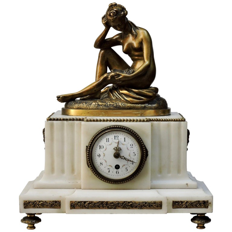 French 19th Century Marble and Ormolu Clock after Falconnet For Sale