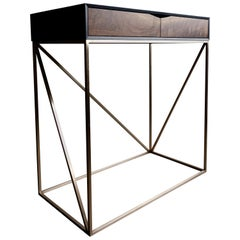 RM Console Table Handcrafted in Walnut, Blackened Ash with Bronze Base