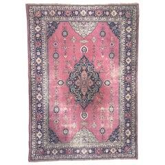 Antique Large Turkish Sparta Pink Field Rug