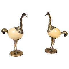 Pair of Ostrich Egg and Pewter Bird Sculptures by Franco Lagini